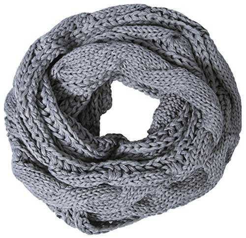 Loop Scarf Accessory (Loritta Womens Winter Warm Ribbed Thick Knit Infinity Scarf Circle Loop Cowl Scarf, Light Grey, One Size)