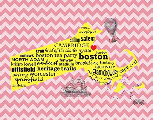 Boston Massachusetts Home love cute chevron pattern heart Map wall decor Art typography print