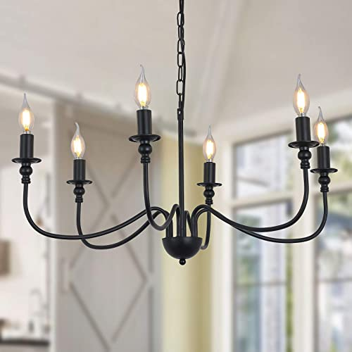 6 Lights Black Chandelier ,Wrought Iron Farmhouse Chandelier Candle Rustic Hanging Pendant Light Fixture