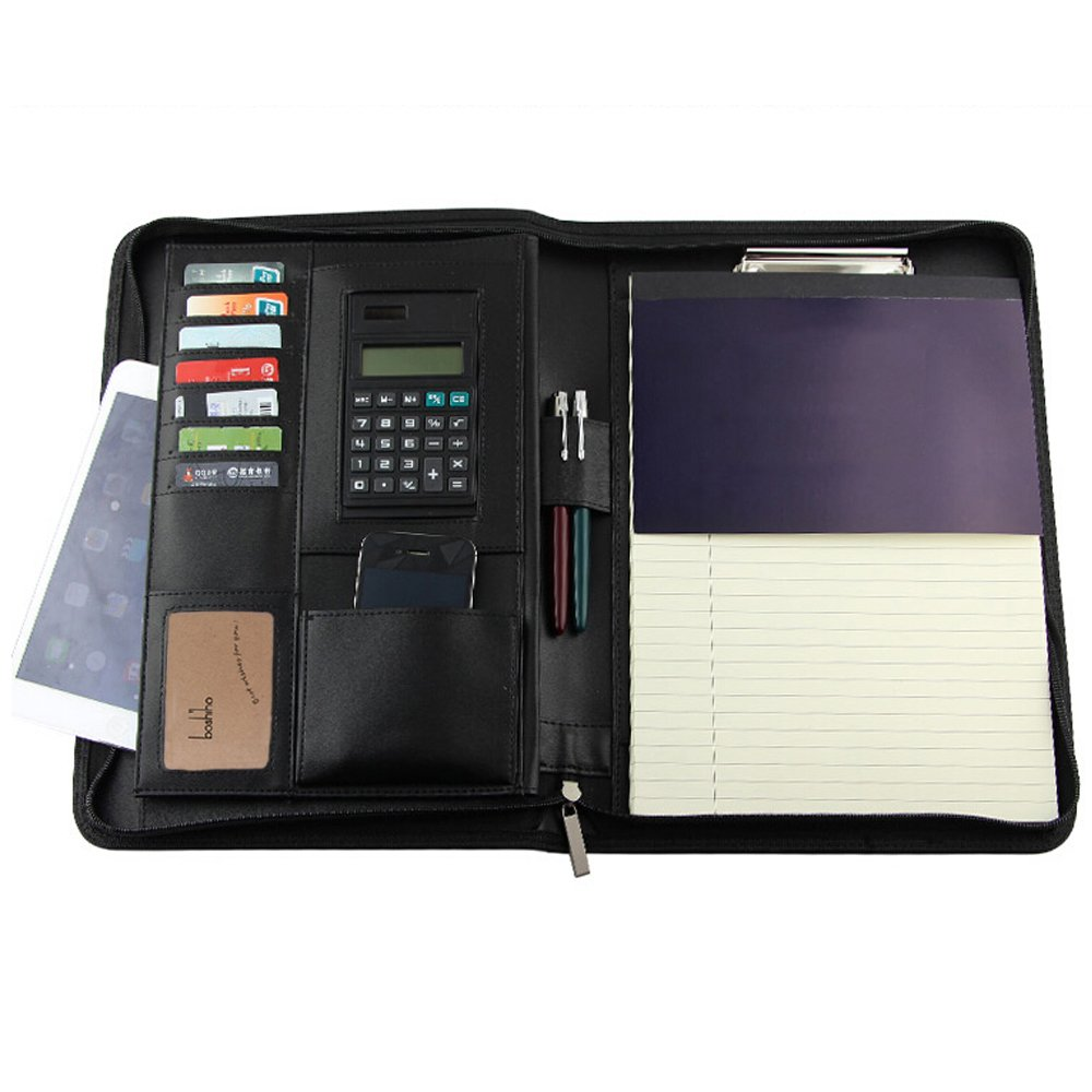 Padfolio Organizer, Boshiho Job Interview Executive Leather Portfolio Documents Holder with Calculator Notepad and Pen Holder (A4)
