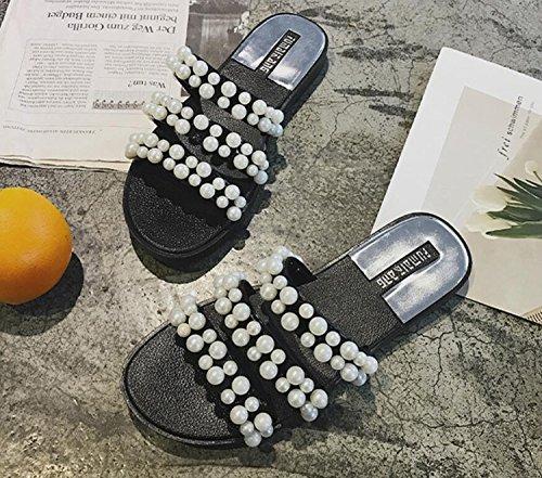 Zapatos con Rosa Beige Moda Tres Use de Mujer Chica Perlas DANDANJIE caseros Sandalias de Negro Salvaje Zapatillas Negro Palabras Zapatillas qBpwx4aT