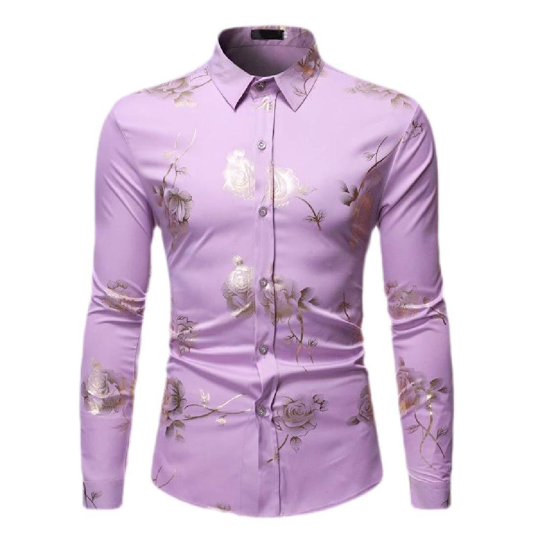 Jmwss QD Mens Floral Button Down Shirt Long Sleeve Aloha Hawaiian Printed Shirt