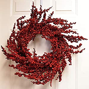Floral Home Decor Red Holiday Berry Wreath - Christmas Red Berry Wreath CH4768 14