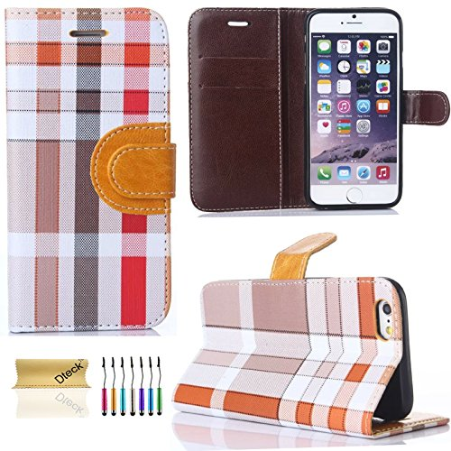 Apple Yellow Plaid (iPhone 6 Plus Case, Dteck(TM) [Ultra Slim] Classic Plaid Pattern [Stand Feature] Premium Vegan Leather Flip Wallet Case Cover with Magnetic Closure for Apple iPhone 6 Plus (5.5) (#3 Yellow Plaid))