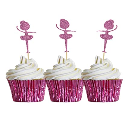 7e118d65 Image Unavailable. Image not available for. Color: HZOnline Glitter  Ballerina Cupcake Toppers Tutus, Ballet Dancer Cake Food Picks for Wedding Baby  Shower