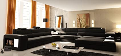 VIG Furniture VGEV5022 BND BLK Divani Casa Polaris   Contemporary Bonded  Leather Sectional
