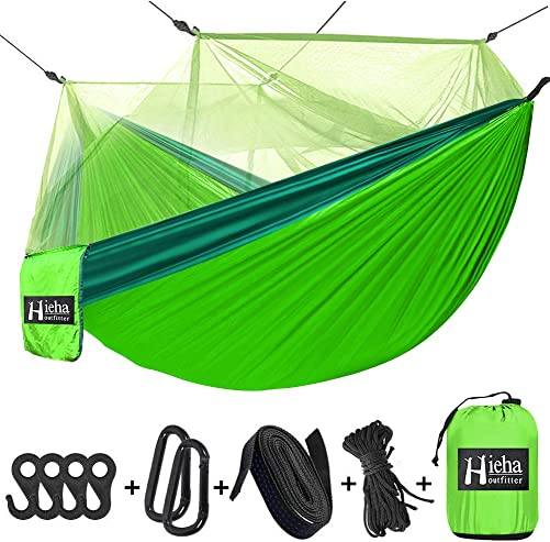Hieha Camping Hammock with Mosquito Net, Portable Double Single Travel Hammock w Bug Insect Netting, Tree Hammock with Tree Straps Carabiners for Outdoor Camping, Backpacking, Travel, Hiking
