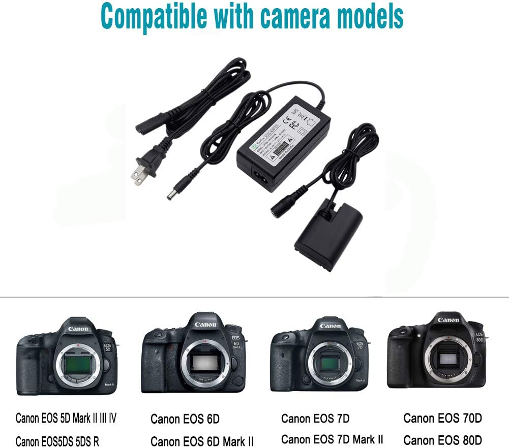 EOS 5DS-R Cameras. LP-E6 LP-E6N Battery Replacement for Canon EOS 70D//7D EOS 5D Mark II III EOS 5DS EOS 60D//6D Gonine ACK-E6 AC Power Adapter DR-E6 DC Coupler Charger Kit