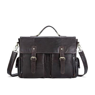 Men's Leather Messenger Bag Vintage Business Briefcase 14-inch Laptop Shoulder Tote Crossbody Handbag Coffee Color