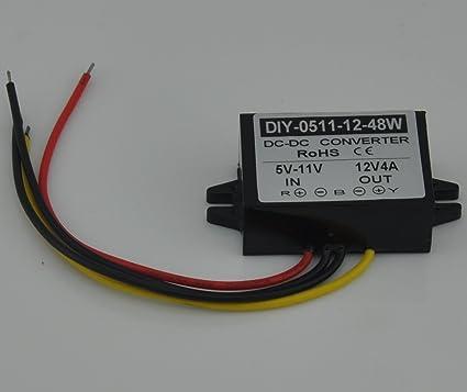 DC 5V 6V 7V 8V 9V 10V 11V Step Up to 12V 48W Car Power Boost Converter Regulator