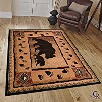 COUNTRY THEME BEAR BABY BEAR CUB CABIN LODGE AREA RUG TAN BROWN (2 Feet 2 Inch X 7 Feet 2 Inch Runner)