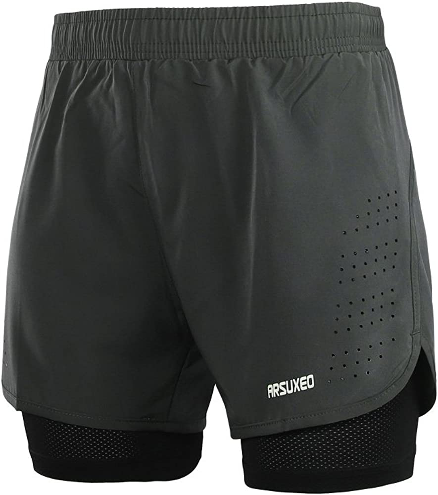 ARSUXEO Men's Active Training Running Shorts 2 in 1 : Clothing