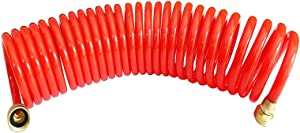 "SANFU Recoil Garden Water Hose 3/8"" ID x 25ft Premium PU with Brass Connectors Retractable, Outdoor Water Hose, Red(25')"