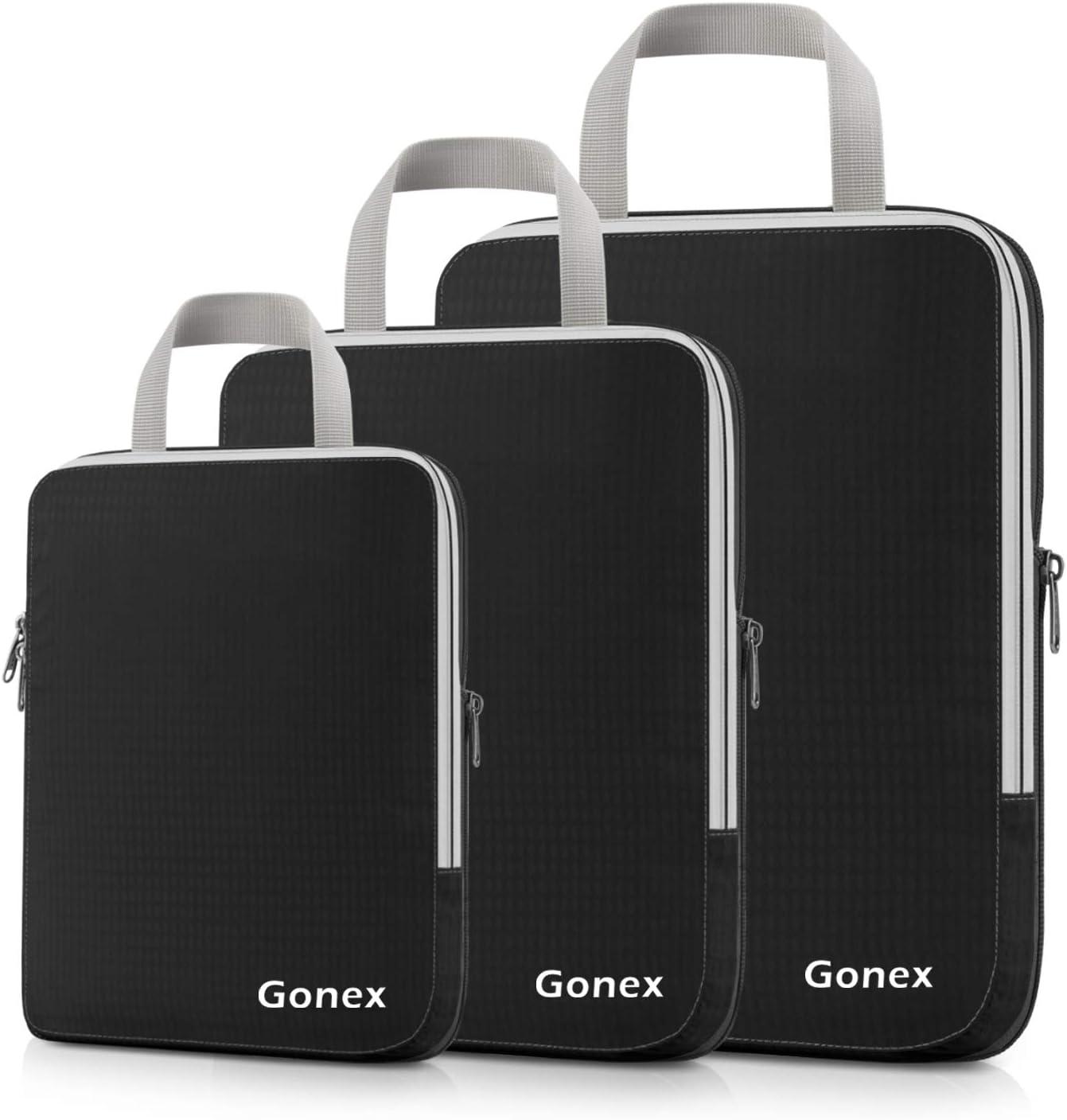 Gonex Compression Packing Cubes,3pcs L+M+S Expandable StorageTravel Bags Luggage Organizers(Black)