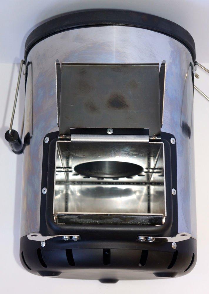 NJ-COMMERCE LTD Silverfire - Cocina portátil para acampada con estufa tipo cohete de madera y biomasa, para uso en exteriores: Amazon.es: Jardín