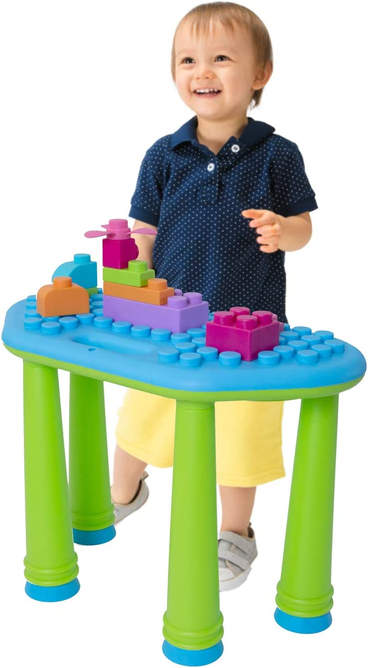 UNiPLAY Activity Learning Table with 25-Piece Soft Building Blocks for Ages 12 Months /& Up Toddlers and Kids Yellow