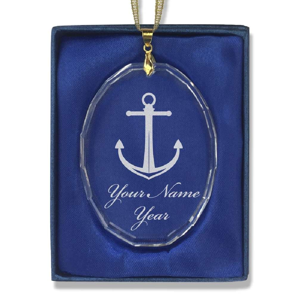 Oval Crystal Christmas Ornament - Boat Anchor - Personalized Engraving Included