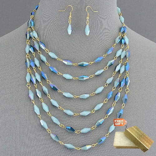 Shimmery Crystal Urban Couture Statement Bib Necklace With Earrings Set For Women + Gold Cotton Filled Gift Box for Free