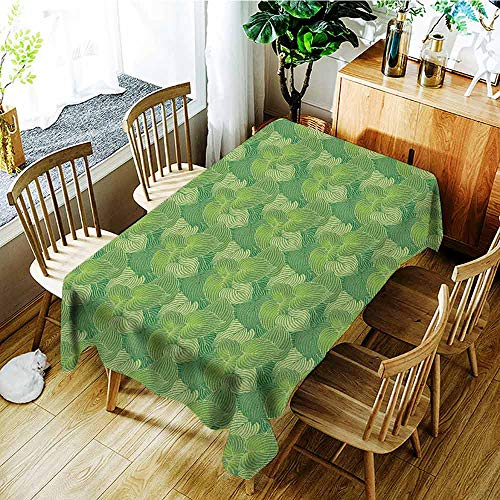 (XXANS Elastic Tablecloth Rectangular,Green,Abstract Hosta Plants Lush Forest Growth Leaves Ecology Jungle Theme,Table Cover for Dining,W52x70L Fern Lime and Pale Green)