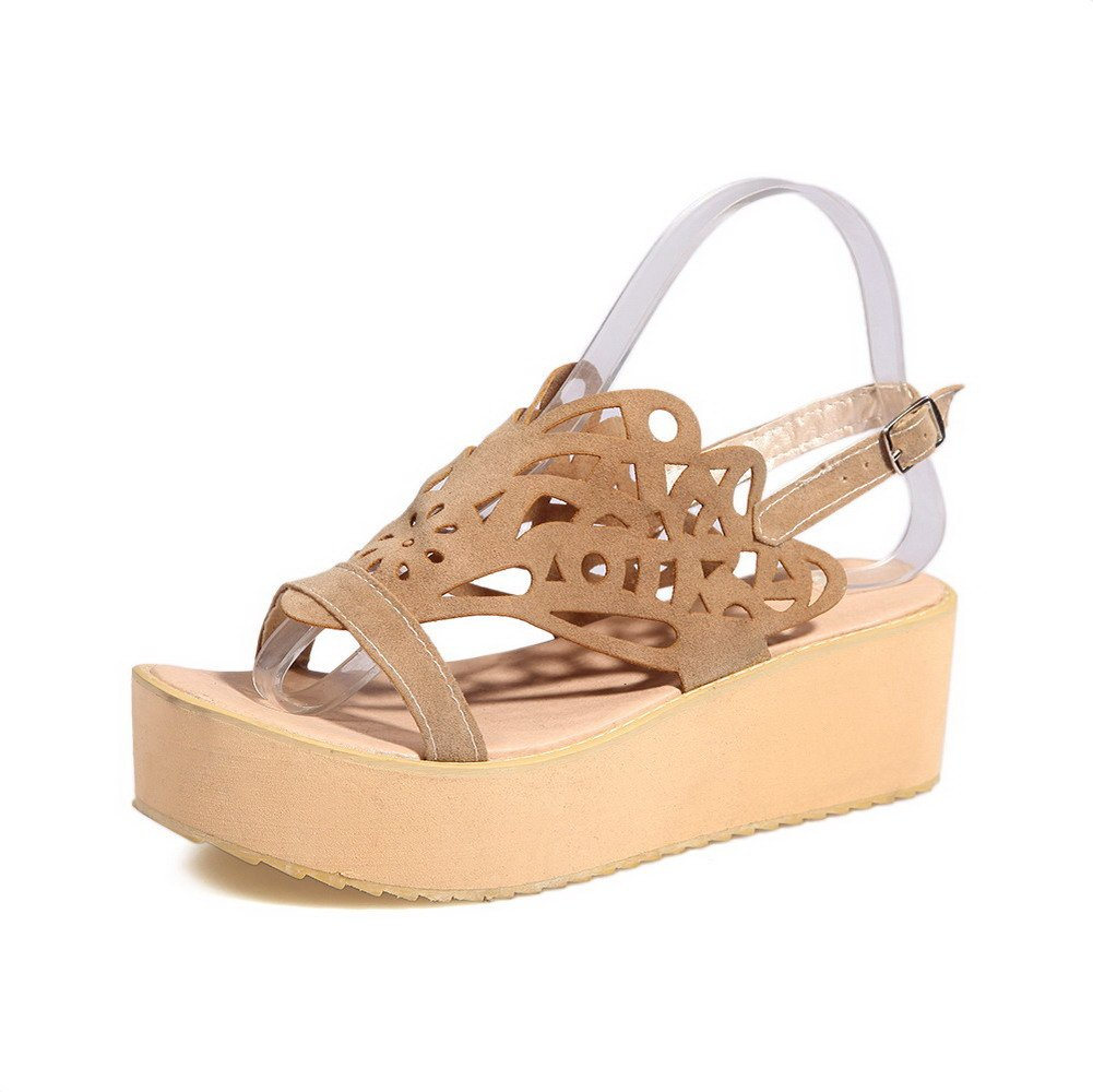 AllhqFashion Women's Solid Imitated Suede Kitten-Heels Open Toe Buckle Flats-Sandals, Beige, 40