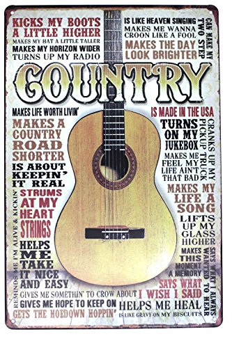 Country Music Guitar Metal Tin Sign, Vintage Poster Plaque Den Bar Home Man Cave Wall Decor