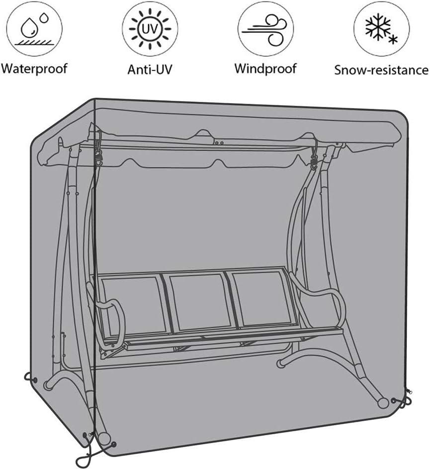 Cubierta De Muebles De Jardín, Funda Protectora Columpio De Jardín Impermeable Protección Solar A Prueba De Viento Anti-UV para Mecedora Hollywood Swing, Gris Oxford
