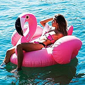 Missley Floflable Flamingo Float Rideable Rideable Blow Up Verano Fun Pool Lounger Floatie Raft para niños y adultos (Flamingo)