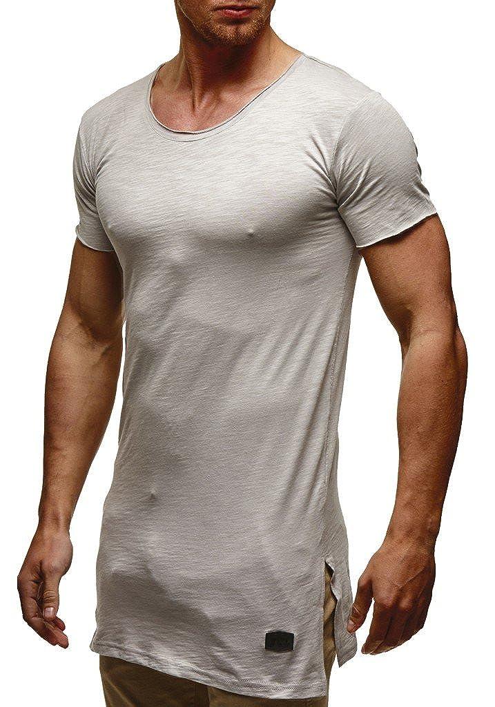 LEIF NELSON Herren Oversize T-Shirt Sweatshirt Hoodie Hoody LN6336; Größe L, Grau 6336GRAU-L
