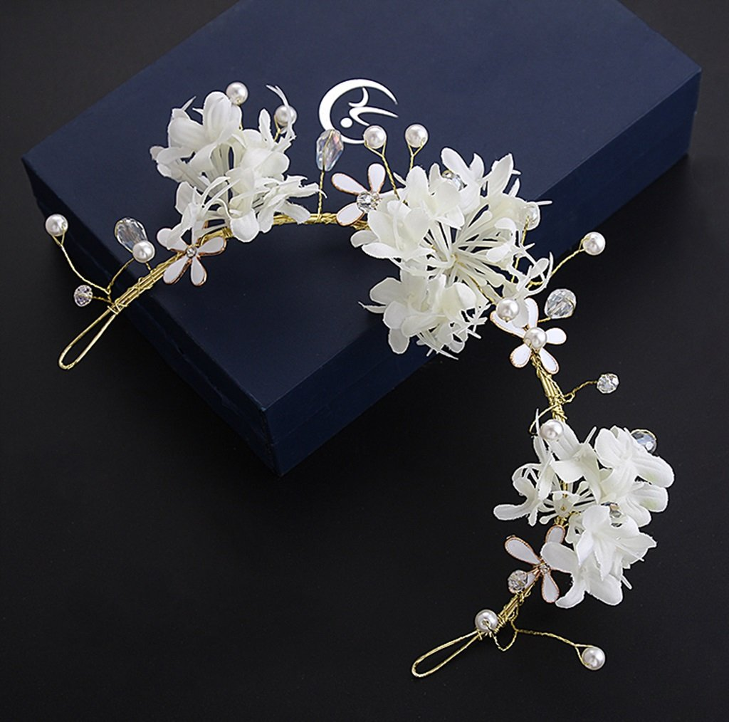 Korean Bride Head Flower Sen Female Hand Flower Headdress Wedding Dress Wedding Dress Dress Accessories (Color : White)