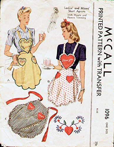 McCalls 1096 Vintage Misses Short Apron with Heart Bib and PocketsSewing Pattern, One size, Embroidery transfers included