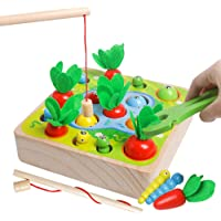 Wooden Montessori Toys for Toddler - Carrot Harvest Matching Puzzle,Fishing Games, 3 in 1 Shape Size Sorting Games for…