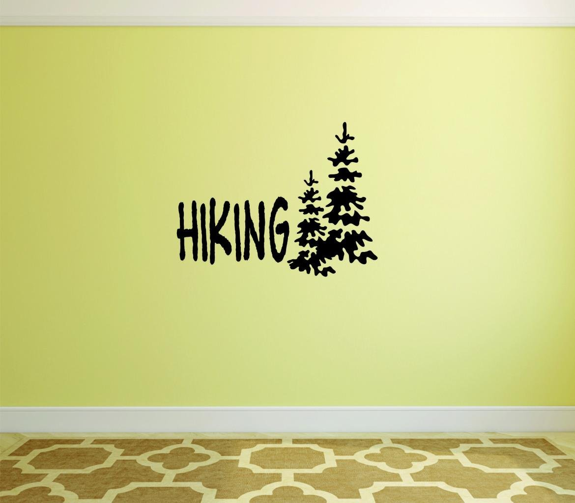 Peel /& Stick Wall Sticker Black Size 16 Inches x 40 Inches Hiking with Trees Camping Outdoors Text Lettering Quote Color Design with Vinyl Moti 2397 3 Decal