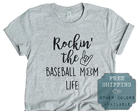e9f98888 Image Unavailable. Image not available for. Color: Rockin The Baseball Mom  Life Graphic Short Sleeve Printed T Shirt Tee Tshirt [Aqua]