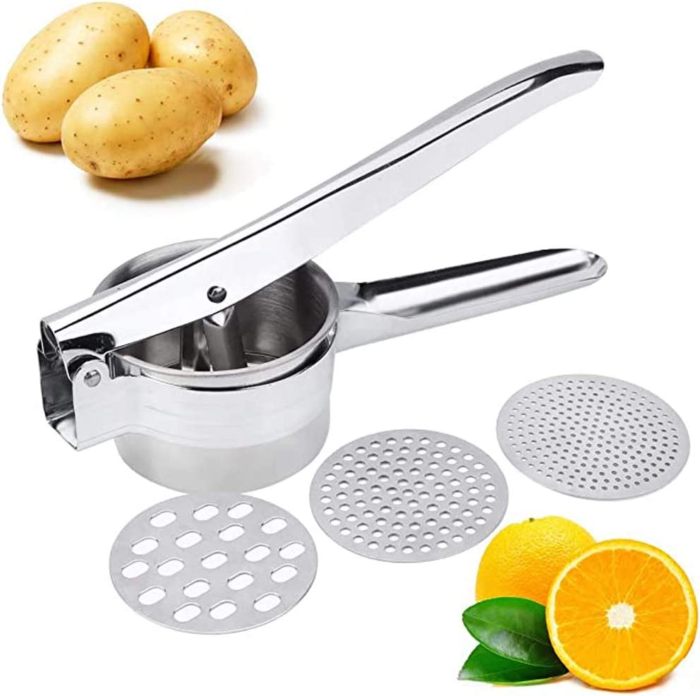 Premium Stainless Steel Potato Ricer Set with 3 Ricing Discs (Fine, Medium, Coarse) - Manual Masher, Baby Food Strainer, and Food Press with Ergonomic Comfort Grip. Dishwasher Safe