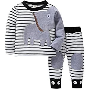 7881f4282 Amazon.com  Infant Toddler Baby Girl Boy Fall Winter Clothes Outfit ...