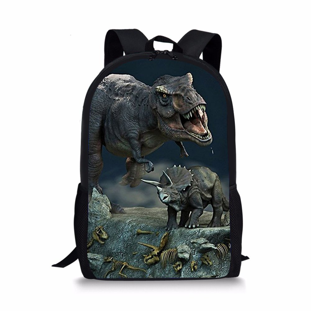 HUGS IDEA 3D Dinosaur Backpack Childern Schoolbag Book Bag for Teen Boys Back to School (T-rex and Triceratops)