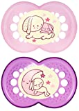 MAM Night Glow in The Dark SooTher Suitable 6 Months with Sterilisable Travel Case - Pack of 2, Pink