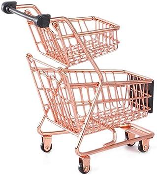 Mini Metal Supermarket Shopping Cart Storage Trolley Kids Pretend Play Toy