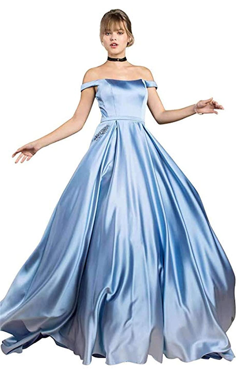 cf5b7aac10e Hatail Long Prom Dresses with Pockets Off The Shoulder Beaded Satin A-line  Evening Gowns for Women at Amazon Women s Clothing store