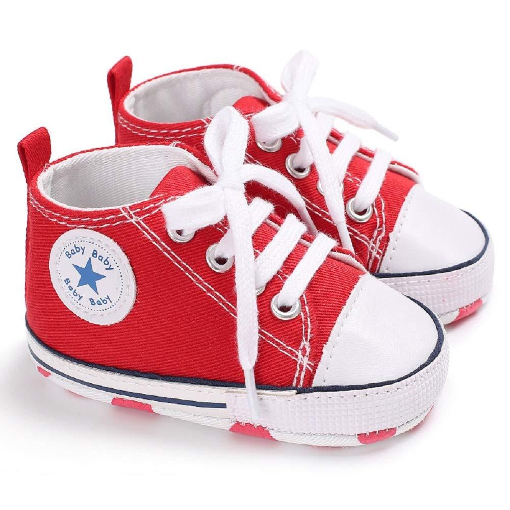 WINER Infant Baby Boy Girl Canvas Soft Sole Anti-Slip Booties High-Top First Walker Sneakers Prewalker Shoes