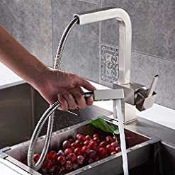 Kitchen Jiuzhuo Contemporary Single Handle Square Pull-Out Brass Kitchen Sink Faucet Swivel Spout in Brushed Nickel or Chrome… modern sink faucets