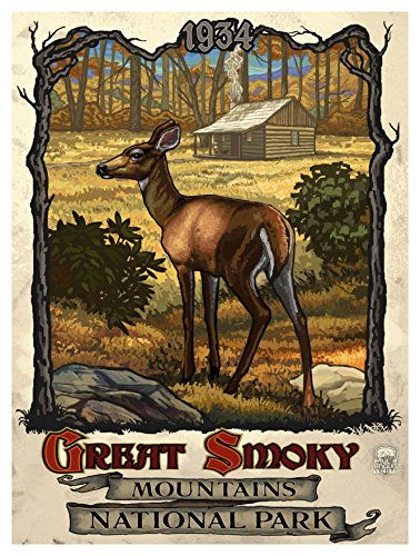 Great Smoky Mountains National Park Deer with Cabin Travel Art Print Poster by Paul A. Lanquist (9