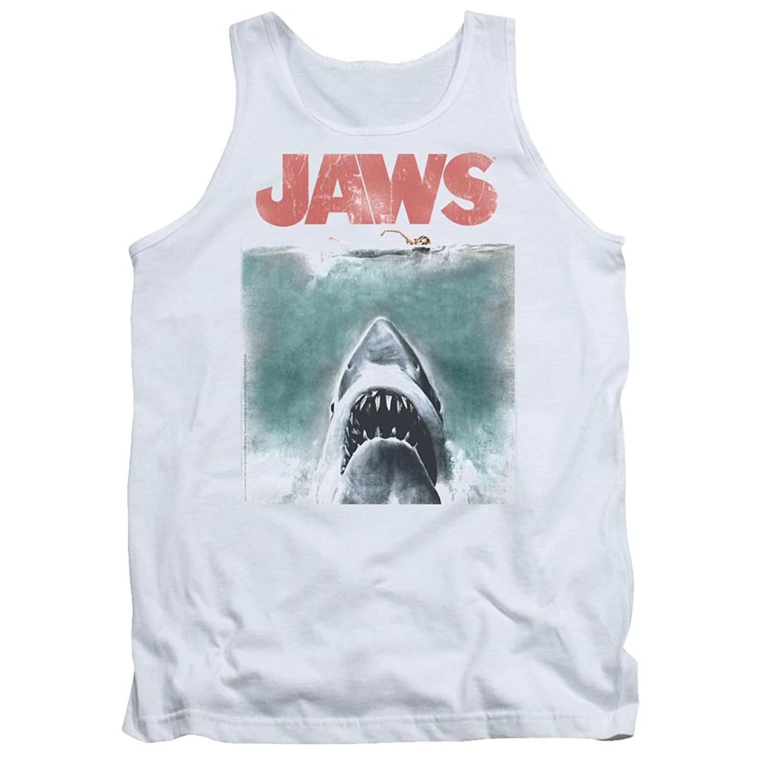 Jaws 1975 Shark Thriller Spielberg Movie Color Poster Adult Tank Top Shirt