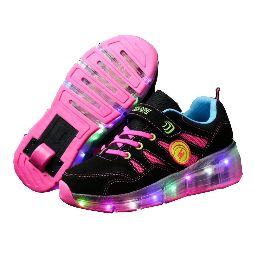 Ufatansy CPS LED Fashion Sneakers Kids Girls Boys Light Up Wheels Skate Shoes Comfortable Mesh Surface Roller Shoes Thanksgiving Christmas Day Best Gift (1 M US=CN 33,Pink)