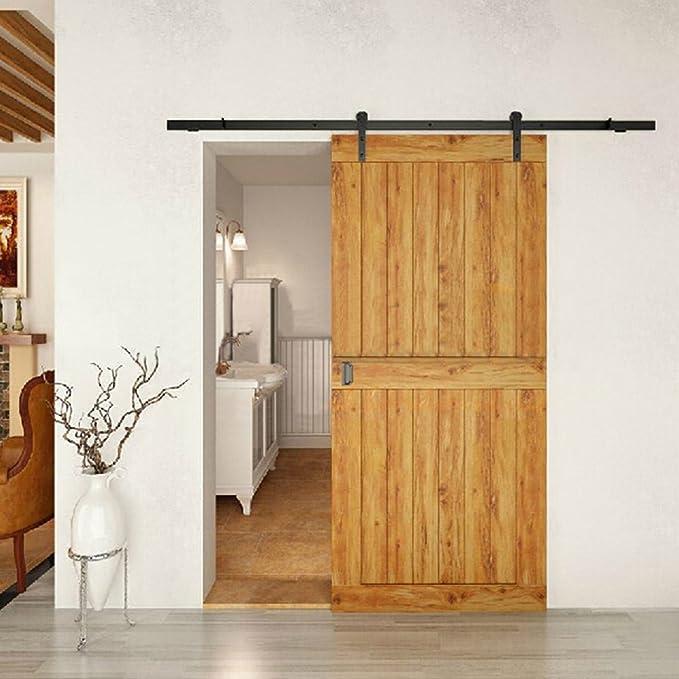 Hahaemall - Juego de rieles de acero para puerta corredera, diseño ...