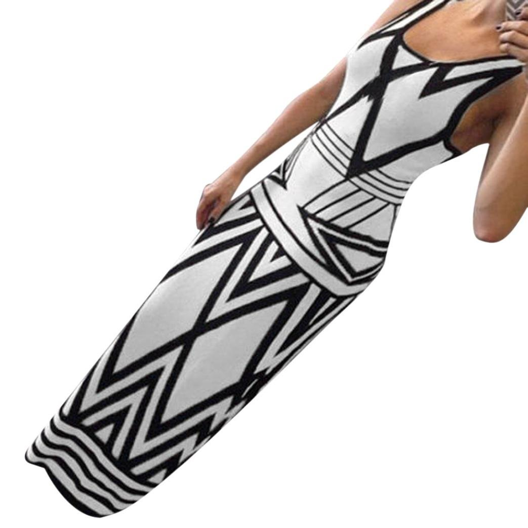 GOTD Women Geometry Summer Boho Casual PartyLong Maxi Beach Dress Polyester (M)