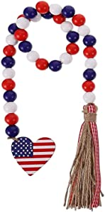 Day 4th of July Farmhouse Wall Hanging Prayer Beads Patriotic American Independence Ornaments for Home Decor, Wood Bead Garland with American Flag and Rustic Tassels (Long:28 in)