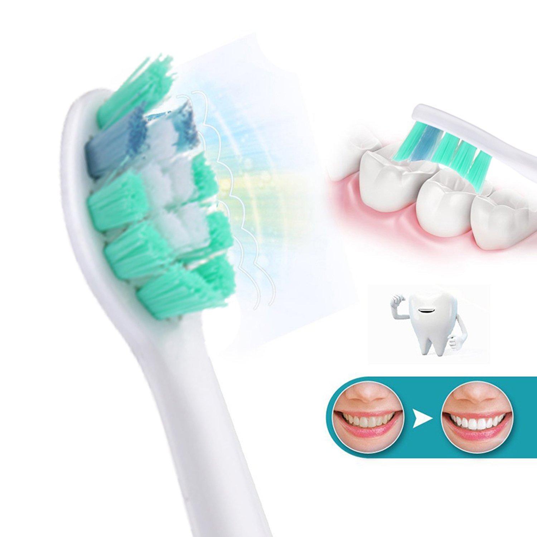Kongkay® 12 Pcs genéricos cabezales para cepillo de dientes eléctrico Modelo HX9024 Compatible con Philips Sonicare cepillo eléctrico para dientes mango.