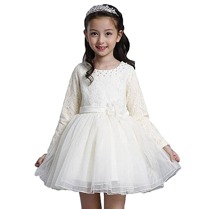 Vestidos Chicas Manga Larga - Vestido Otoño Vestidos Princesa Cordón Malla Perlas Fiesta Actuación Celebracion Beige