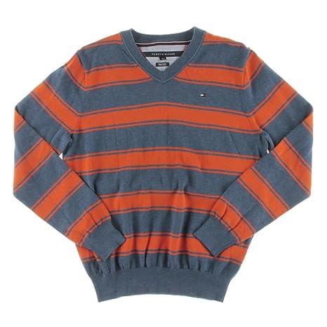 6084b5c0 Tommy Hilfiger Mens Striped V-Neck Pullover Sweater: Amazon.ca ...